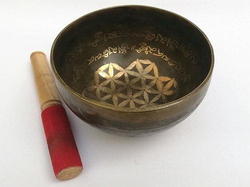 Cuenco  Tibetano Mantra de 16cm. Siete metales hecho a mano en Nepal.