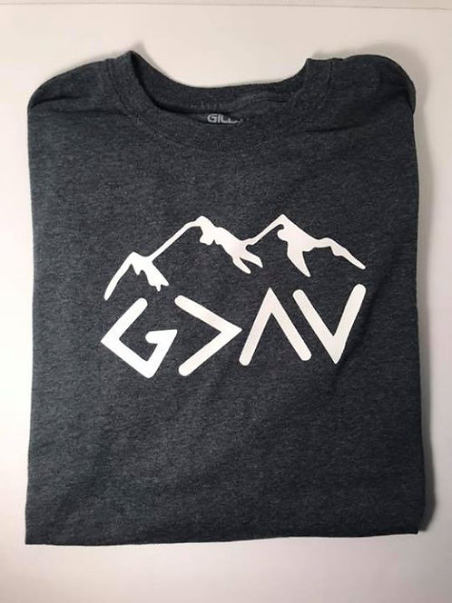 """""""God is Greater Than the Ups and Downs"""" Grey Heather Short Sleeve T-Shirt"""