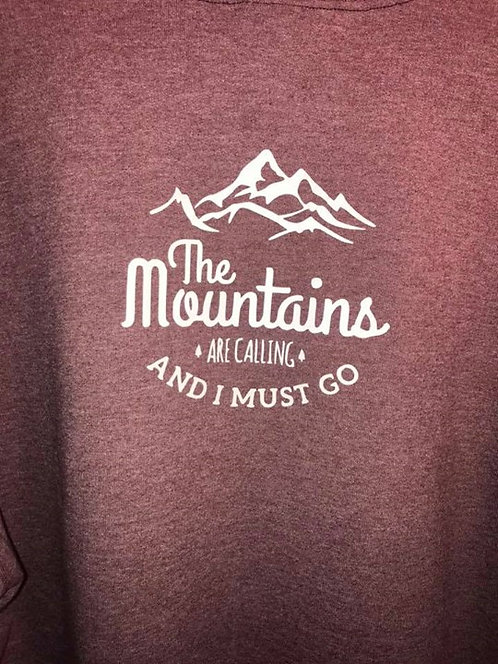"""The Mountains are Calling"" Maroon Heather Crewneck Sweatshirt"