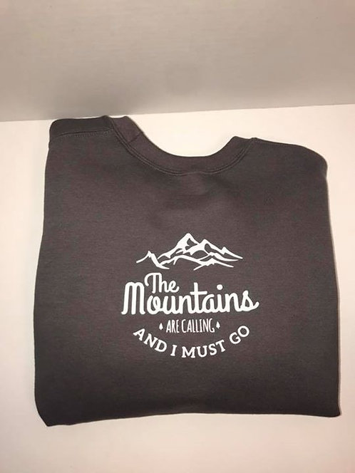 """The Mountains are Calling"" Charcoal Crewneck Sweatshirt"