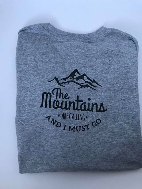 """The Mountains are Calling"" Sport Grey Long Sleeve T-Shirt"
