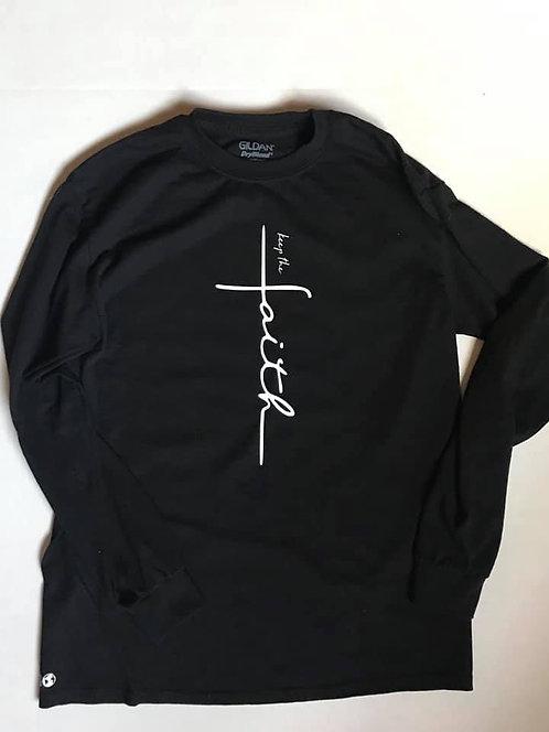 """""""Keep the faith"""" Black Long Sleeve T-Shirt"""