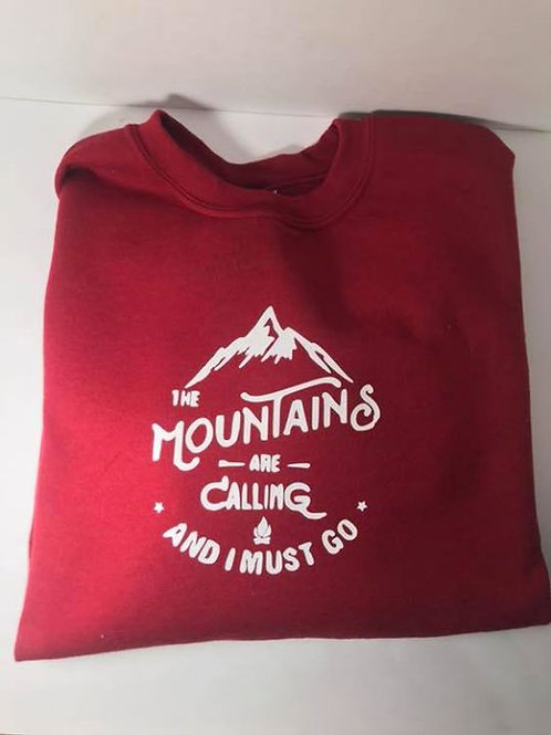 """The Mountains are Calling"" Garnet Crewneck Sweatshirt"