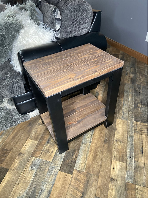 Black and walnut end table