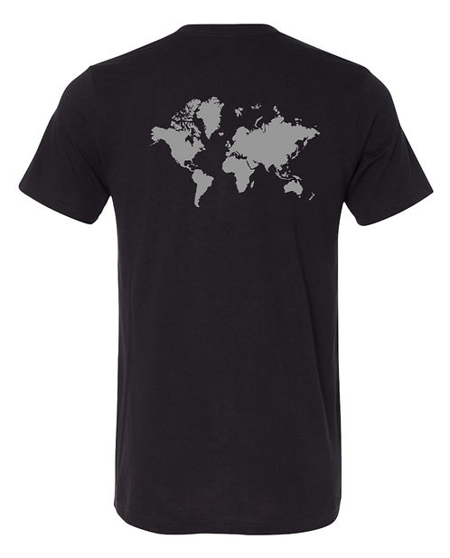 """Feed your dreams"" Black with silver - world map"