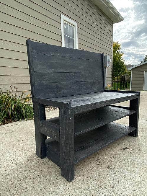 Farmhouse shoe storage bench