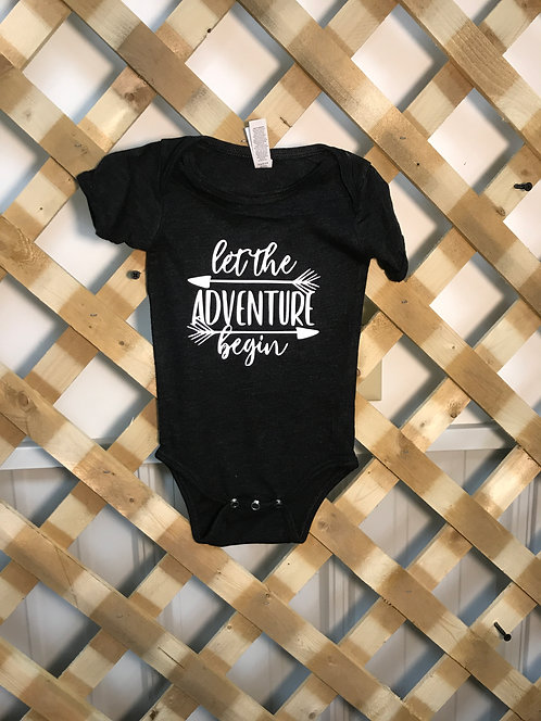 """Let the Adventure Begin"" Charcoal Onesie White Font"
