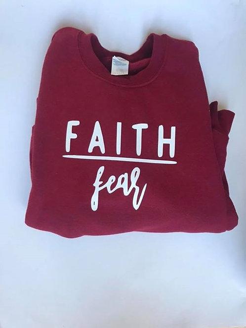 """""""Faith Over Fear"""" Garnet Crewneck Sweatshirt"""