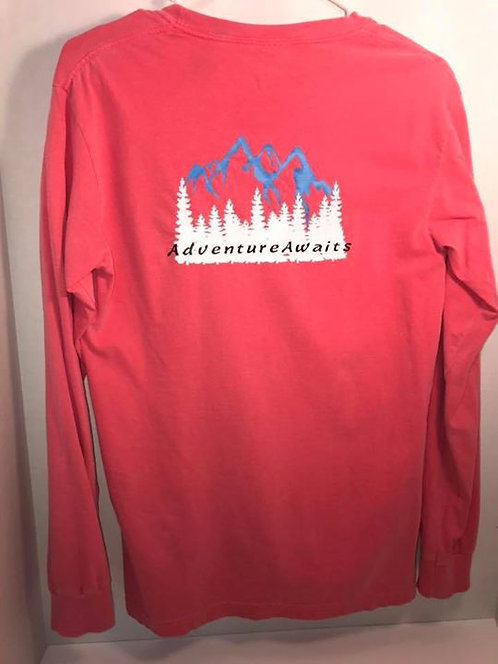 """Adventure Awaits"" Watermelon Long Sleeve Pocket T-Shirt"