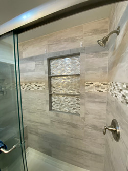 New tile shower with bench