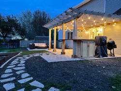 New pergola, patio, and fire pit