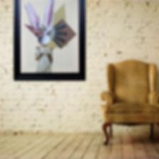 collage art contre mur