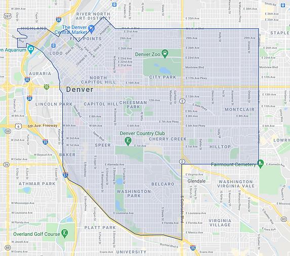 Updog Dog Walking - Service Area Map