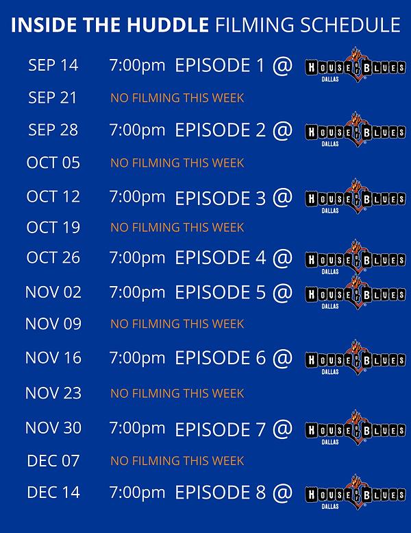 Inside The Huddle Season 29 Schedule