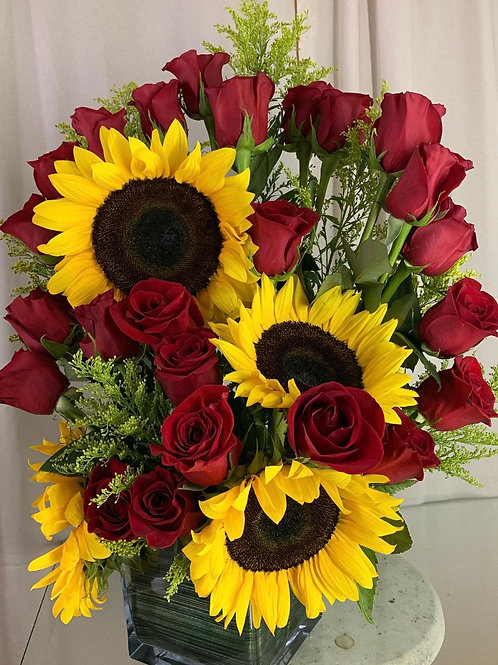 2 DOZEN ROSES & SUNFLOWERS