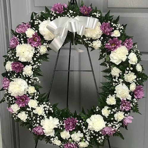 WHITE AND LAVENDER WREATH