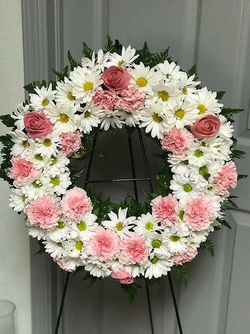 WHITE AND PINK WREATH
