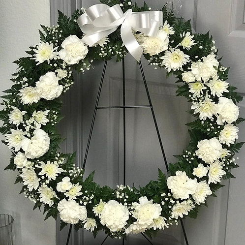 SYMPATHY ALL WHITE WREATH (LARGE)
