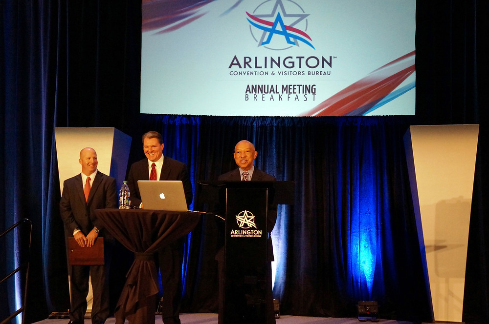 Gerald Alley speaks at the Arlington Convention and Visitors Bureau Annual Meeting