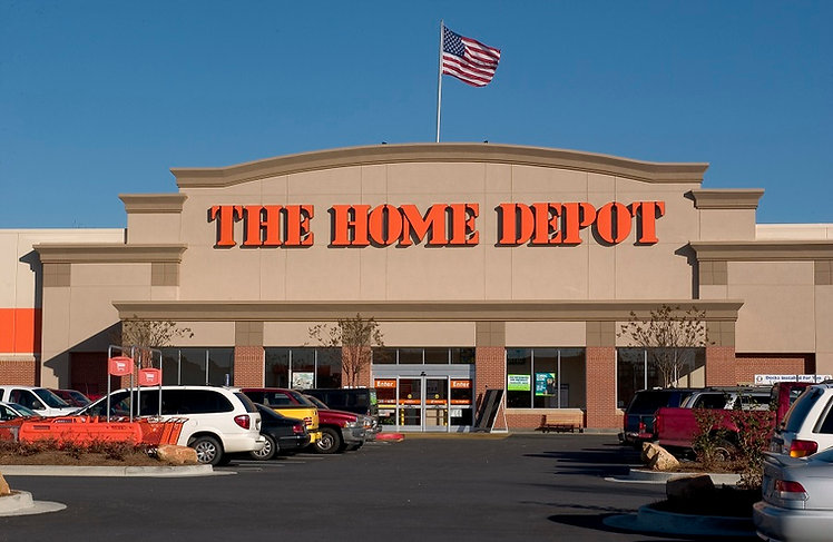 Exterior of a Home Depot storefront during the day.