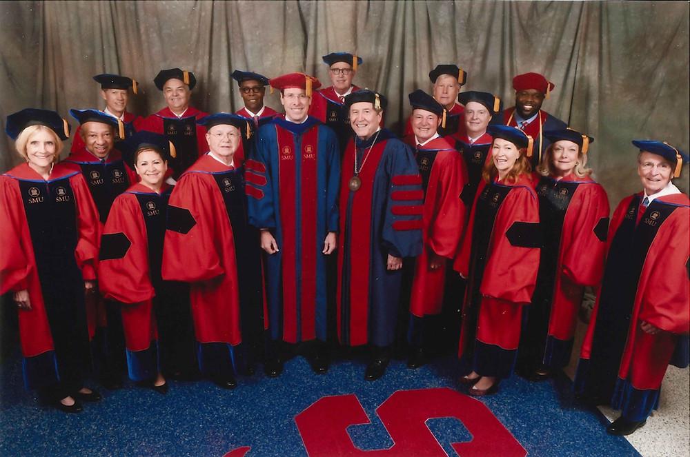 SMU Board of Trustees in graduation regalia