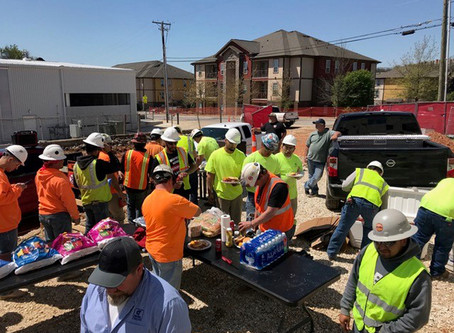 Celebrating a Job Well Done: Crawfish Boil at the Library Storage Building Site