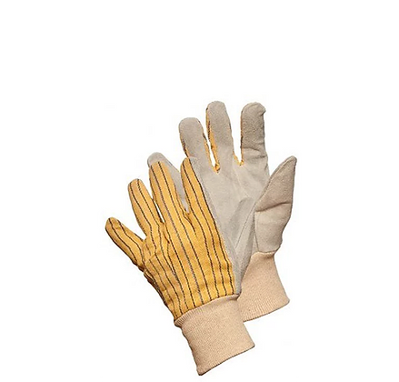 COTTON BACK LEATHER PALM GLOVES