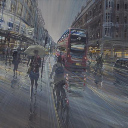 Londres sous la pluie 80x80cm