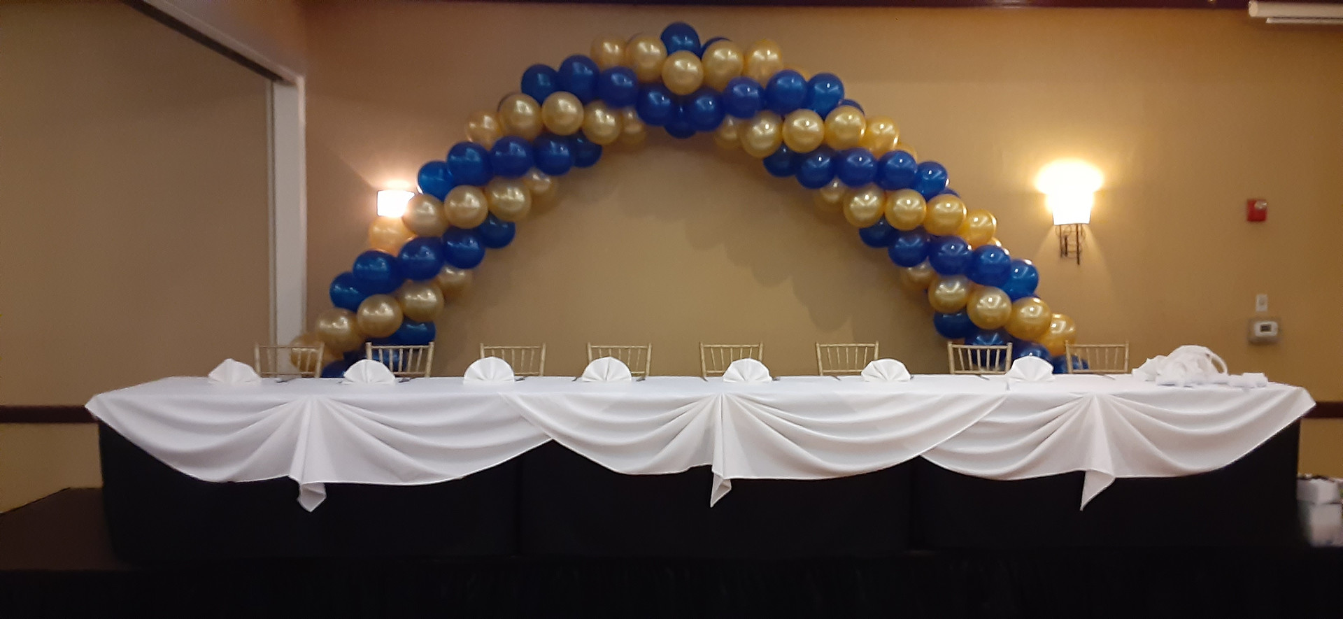 blue and gold arch
