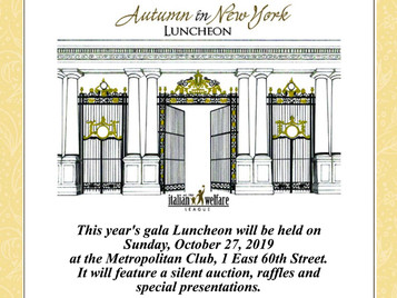 Save the Date for our Annual  Autumn in New York Luncheon