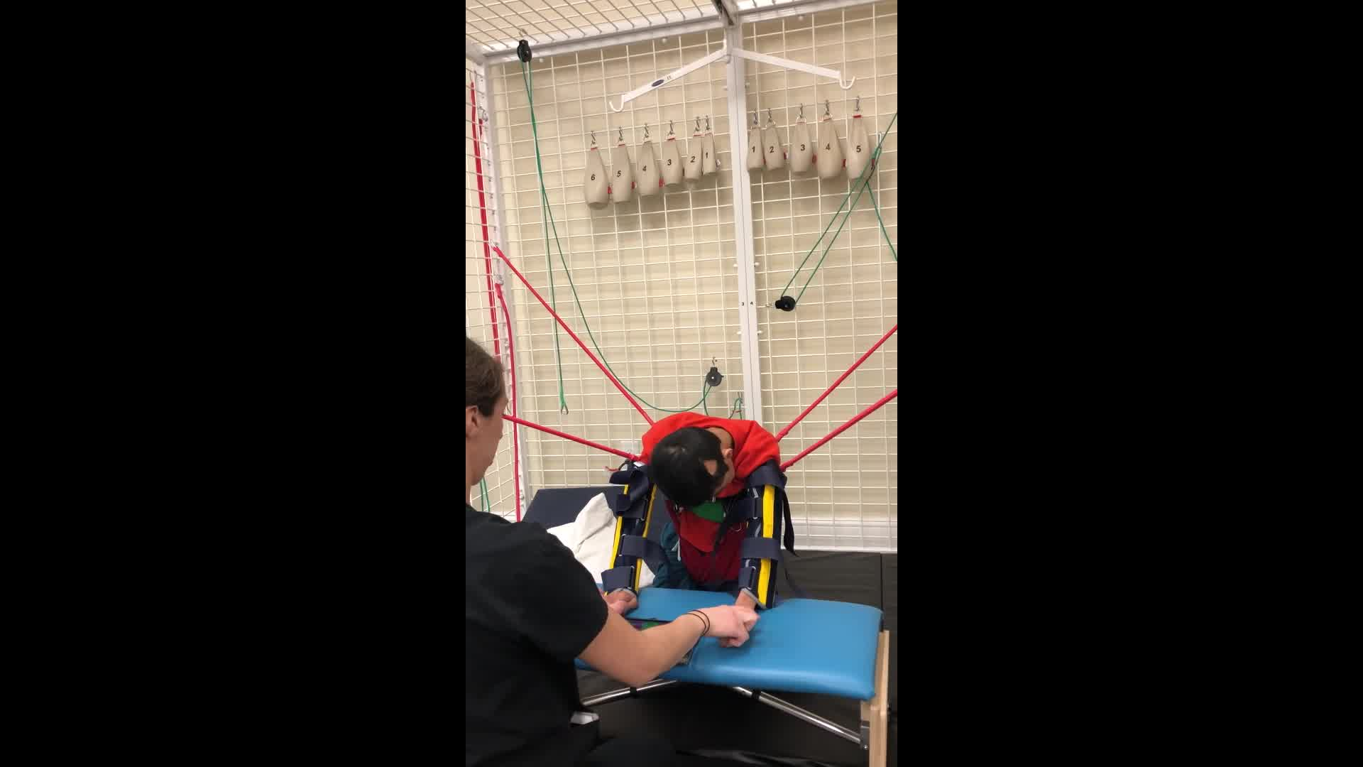 Specialized therapy is helping this child's physical coordination