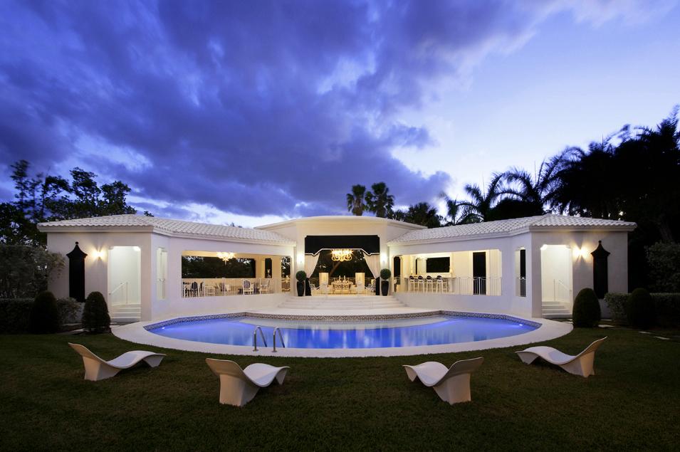 Pool House at Dusk Jacqueline Friend Design Hollywood Fl