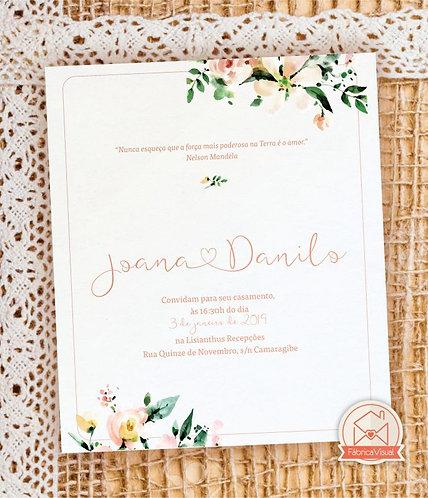 Convite de casamento floral clean para impressão