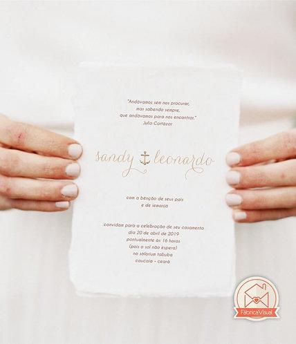 Convite elegante de casamento na praia para impressão