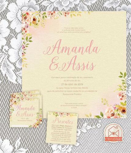 Convite de casamento super romântico para impressão