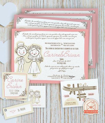 Convite de casamento noivinhos para impressão