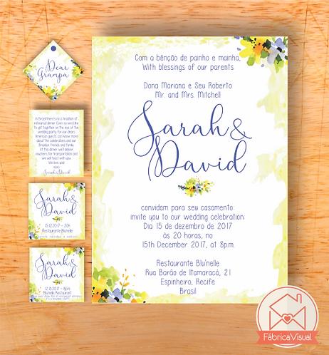 Convite de casamento bilingue para impressão