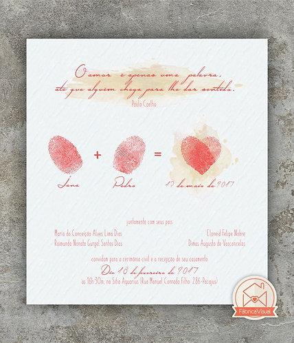 Convite de casamento com digitais para impressão