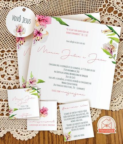Convite de casamento com lírios para impressão