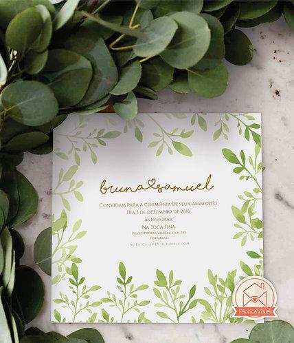 Convite de casamento com folhagens para impressão