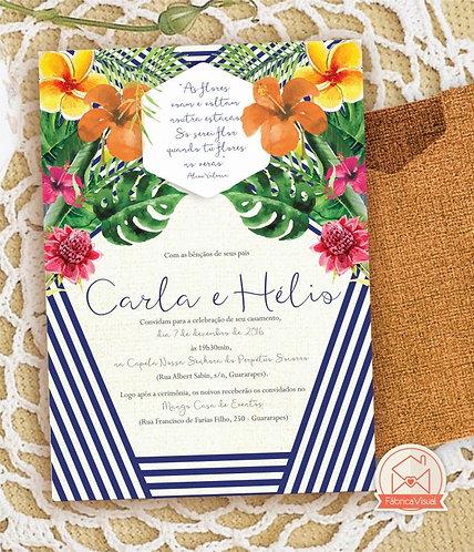 Convite de casamento tropical para impressão