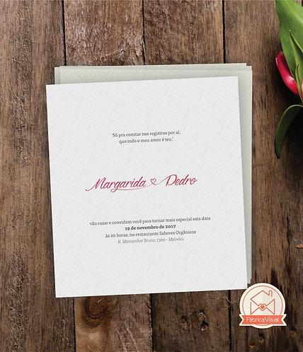 Convite de casamento clean para impressão