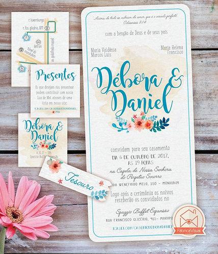 Convite de casamento fofo para impressão
