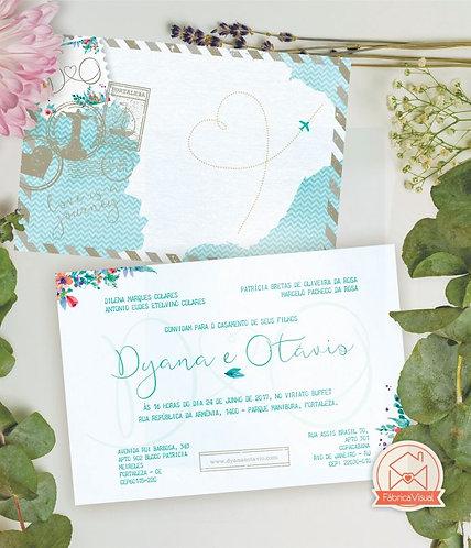 Convite de casamento tema viagem para impressão