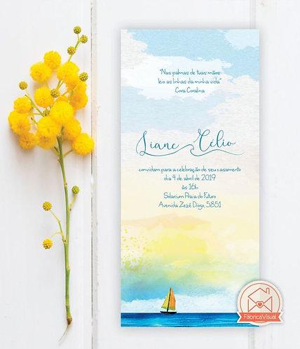 Convite de casamento para praia