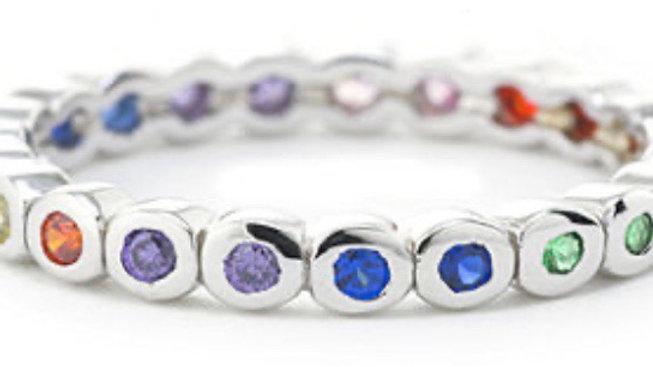 Rainbow Bezel Ring