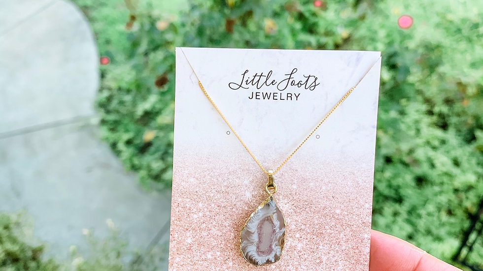 Natural Stone Necklace - Gold