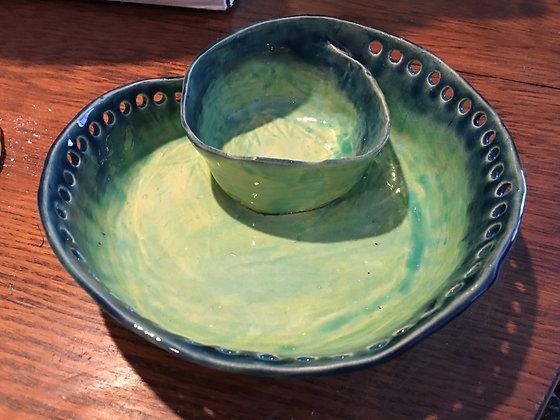 Ceramic chip and dip bowl