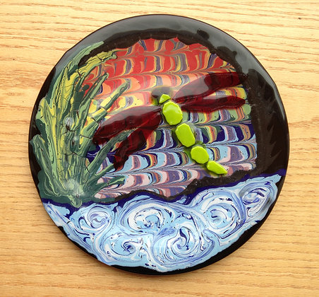 Fused and glass paint dragonfly