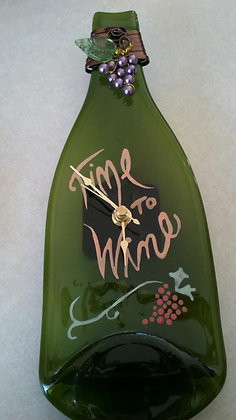 Art glass painted and fused upcycled wine bottle